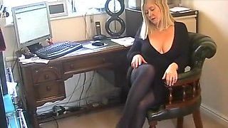 BBW Secretary Slut In Black Pantyhose
