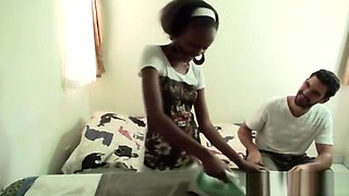 Natural-titted African ebony makes pause and gets some hardcore action with her boyfrined