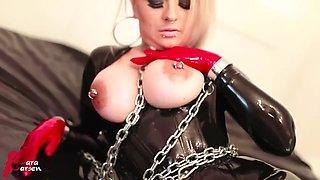 Latex Slave Nipple Piercings Mask