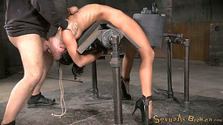Flexible bent over submissive brunette gets mouth fucked hard