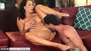 Incredibly horny busty sexpot Alexis Fawx loves being fucked hard on the table