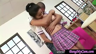 SCHOOL GIRL loves ANAL only facial