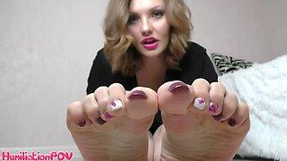 Feet of red hair girl