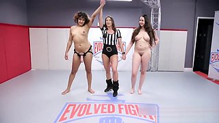 Daisy Ducati dominates busty Kyra Rose in lesbian wrestling fight