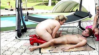 BBW femdom by the pool