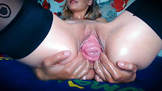 Amazing cervix prolapse and pussy gaping from Anda