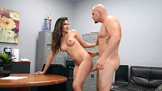 Sultry math teacher nailed hard by bald and hung principal