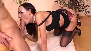 The high heels and sexy costume turns on horny Justyna and a dude
