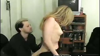 A-cup cutie, spanked and paddled by man and woman.