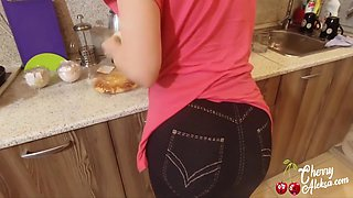 Big Ass Milf Blowjob Big Cock, Anal Sex And Cum Eating In The Kitchen