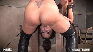pretty minion got choked by domina with a strap-on