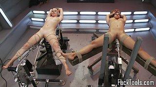 Busty babes enjoying machine session