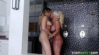 Obsessed with sex milf seduces stepson's girlfriend and fucks her in the shower