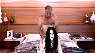 Silver haired Latin man with a horny bitch