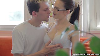 Nerdy beauty in glasses makes love to this hard dick dude