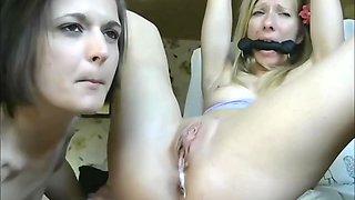 Tied Lesbian Extreme Shaking Orgasm