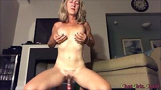 Blonde saggy tits mature dildo riding and masturbating