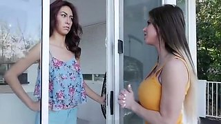 Beautiful busty young harlot performing in amazing lesbian porn scene