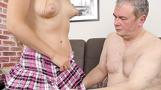 Sexy coed has an idea how to improve her grades and she fucks like mad